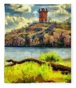 Tower On The Bluff Fleece Blanket