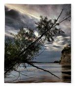 Tower Rock In The Mississippi River Fleece Blanket