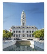 Town Hall In Porto Portugal Fleece Blanket
