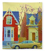 Town Houses In Winter Suburban Side Street South West Montreal City Scene Pointe St Charles Cspandau Fleece Blanket