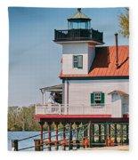 Town Of Edenton Roanoke River Lighthouse In Nc Fleece Blanket