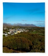 Town On A Hill With 12 Pin Mountain Fleece Blanket