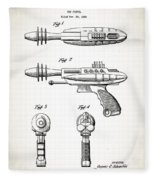 Toy Ray Gun Patent Fleece Blanket
