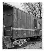 Tpw Rr Caboose Black And White Fleece Blanket