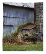 Tractor And Barn On Cloudy Day Fleece Blanket