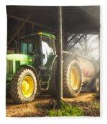 Tractor In The Morning Fleece Blanket