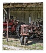 Tractors In The Shed Fleece Blanket