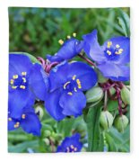 Tradescantia Blooming Fleece Blanket