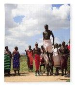 Traditional Samburu Dance Fleece Blanket