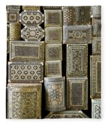 Traditional Souvenir Boxes In Market Of Cairo Egypt  Fleece Blanket