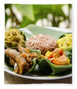 Traditional Vegetarian Curry With Rice In Bali Indonesia Fleece Blanket