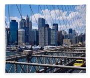 Traffic On A Bridge, Brooklyn Bridge Fleece Blanket