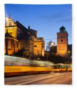 Traffic On The Solidarity Avenue In Warsaw Fleece Blanket