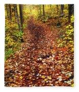 Trail In Fall Forest Fleece Blanket