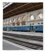 Train At Station Platform Budapest Hungary Fleece Blanket