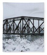 Train Bridge Over The Genesee River Fleece Blanket