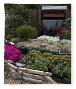 Train Garden And Girl Fleece Blanket