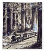 Train In The Redwoods Fleece Blanket