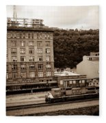 Train Passes Station Square Pittsburgh Antique Look Fleece Blanket
