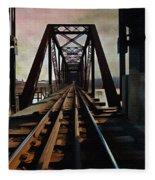 Train Rail Bridge  Fleece Blanket