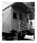 Train - The Caboose - Black And White Fleece Blanket