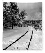 Train Tracks In The Snow Fleece Blanket