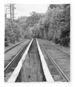 Train Tracks Running Through The Forest Fleece Blanket