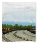 Train Tracks Fleece Blanket