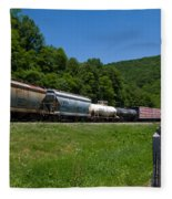 Train Watching At The Horseshoe Curve Altoona Pennsylvania Fleece Blanket
