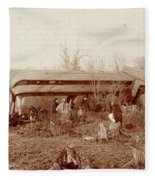Train Wreck, 1890s Fleece Blanket
