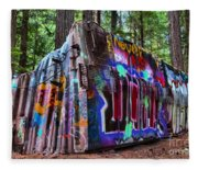 Train Wreck Art In The Forest Fleece Blanket