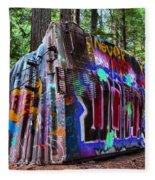 Train Wreck Art In The Forest Fleece Blanket