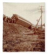 Train Wreck, C1900 Fleece Blanket