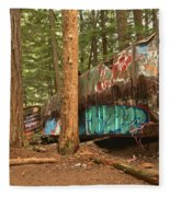 Train Wreck Canvas Among The Trees Fleece Blanket