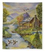 Tranquil Log Cabin Fleece Blanket