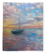 Tranquil Ocean Sunset Fleece Blanket