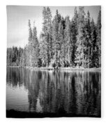 Tranquil Reflection In B And W Fleece Blanket