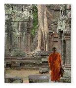Tranquility In Angkor Wat Cambodia Fleece Blanket
