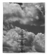 Transmission Tower In Storm Fleece Blanket