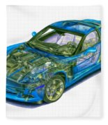 Transparent Car Concept Made In 3d Graphics 11 Fleece Blanket