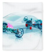 Transparent Car Concept Made In 3d Graphics 7 Fleece Blanket