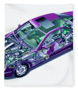 Transparent Car Concept Made In 3d Graphics 8 Fleece Blanket