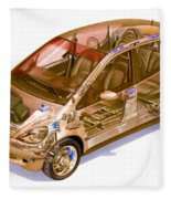 Transparent Car Concept Made In 3d Graphics 9 Fleece Blanket