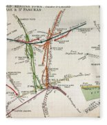 Transport Map Of London Fleece Blanket