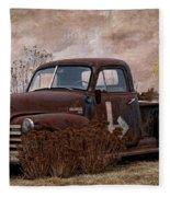 Transportation - Rusted Chevrolet 3100 Pickup Fleece Blanket