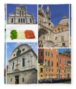 Travel To Venice  Fleece Blanket