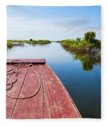 Traveling Through Tonle Sap Lake Fleece Blanket