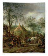 Travellers At An Inn Fleece Blanket