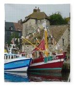 Trawlers In Honfleur Fleece Blanket