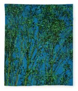 Tree Abstract Blue Green Fleece Blanket
